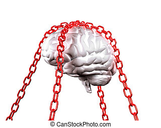 free your mind - 3d image of white model brain and red chain...