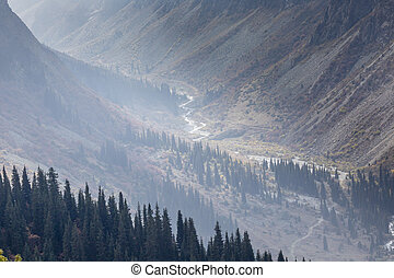 The panorama of mountain landscape of Ala-Archa gorge in the...
