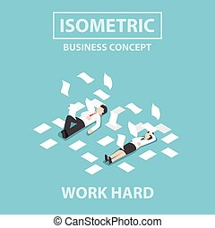 Isometric business people work hard and unconscious on the...