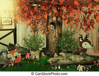 decoration hare and mushrooms - the fabulous scenery on the...