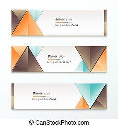 Set Bright modern abstract banner design, Brown, orange, blue color