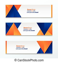 abstract banner design, blue, orange