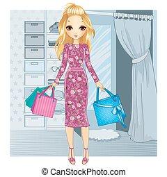 Girl Standing Near Fitting Room