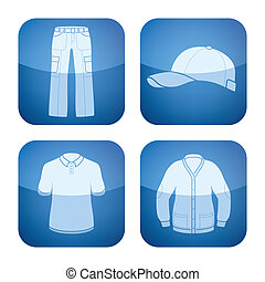 Cobalt Square 2D Icons Set: Mans Clothing - Mans Clothing...