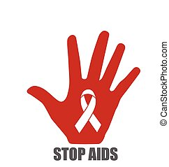 Stop AIDS: Hand with ribbon Vector illustration