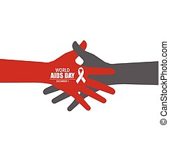 Stop AIDS: Hand with ribbon. Vector illustration.
