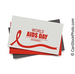 Aids Awareness Red heart Ribbon on white background. Vector...