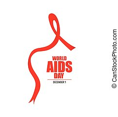 Aids Awareness Red heart Ribbon on white background Vector...