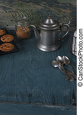 cafetera, leche, y, casero, harina de avena, Galletas,