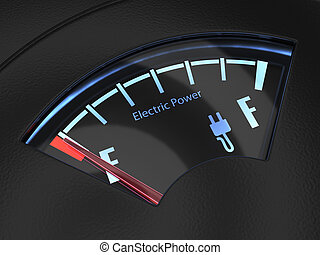 Electric fuel gauge with the needle indicating an empty battery charge