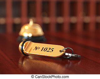 3d rende of hotel room key with golden lable room number on...