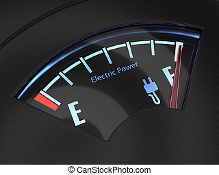 Electric fuel gauge with the needle indicating a full battery charge