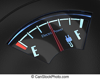 Electric fuel gauge with the needle indicating a middle...