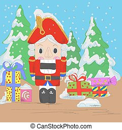 Nutcracker with gifts - Hand drawn sketch nutcracker with...