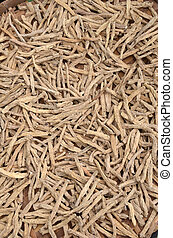 Dry Ginseng roots in Asian food market