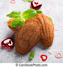 Homemade chocolate cookies Madeleine with mint and...