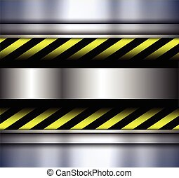Background with warning stripes - Background metallic with...