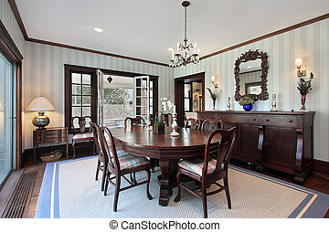 Dining room with door to porch - Dining room in luxury home...