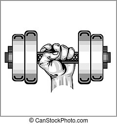 Heavy dumbbell in hand isolated on white