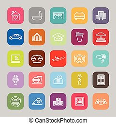 Hospitality business line flat icons, stock vector