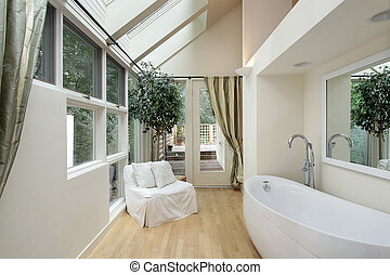 Master bath with skylights - Master bath in luxury home with...