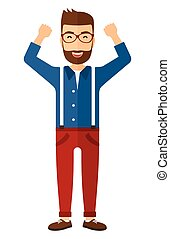 Man with raised hands up - A happy young hipster man in...