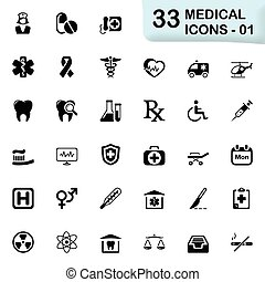 Black medical and health icons - Set of 33 icons for web and...