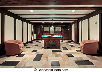 Pool room with wood beam ceilings - Basement pool room with...