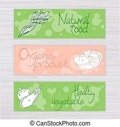 vector illustration of vegetables banners with circles on wooden backdrop. Carrot, tomato, cucumber, eggplant, pepper