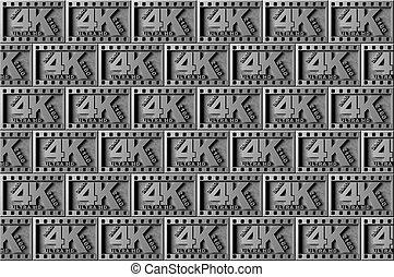 4K silver symbol background, 3d render