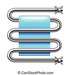 Heated towel rail isolated on white vector - Heated towel...