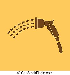 The spray gun icon Irrigation and watering symbol Flat...