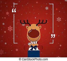 Reindeer holding giftbox