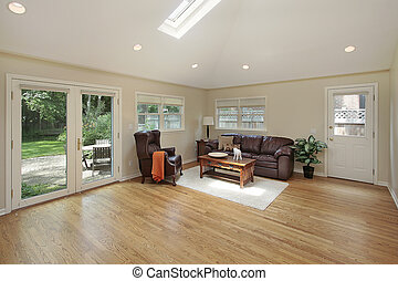 Family room with skylight
