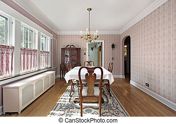 Dining room with arched entry - Dining room in older home...
