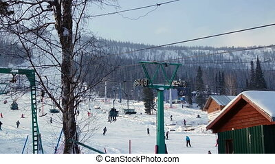Beautiful Snowy Mountain And Ski Lift Station