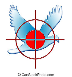 War and Peace - War against Peace illustration with red...