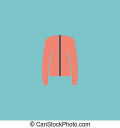Jacket flat icon - Jacket Colorful vector icon Simple retro...
