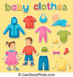 Baby clothes. Set of clothing items for newborns and children