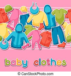 Baby clothes. Seamless pattern with clothing items for...