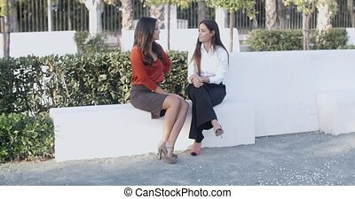 Two women relaxing and having a chat - Two attractive smart...