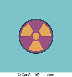 Radiation flat icon - Radiation Colorful vector icon Simple...