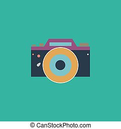 Digital photo camera Colorful vector icon Simple retro color...