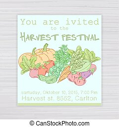 vector  illustration of  invitation for harvest festival with vegetables - pumpkin, tomato, beet, carrot, cucumber, zucchini, pepper, eggplant, oregano on wooden backdrop