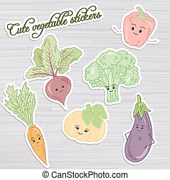 vector illustration of set of cute vegetable stickers: beet, carrot, broccoli, pumpkin, pepper and eggplant on wooden backdrop