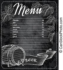 vector hand drawn chalkboard beer menu with cones and leaves of hop and beer barrel