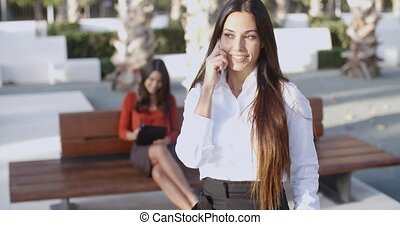 Attractive young woman chatting on a mobile - Attractive...