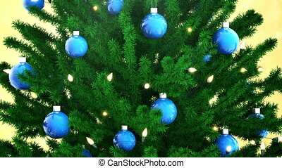 Christmas tree decoration with balls and light bulbs
