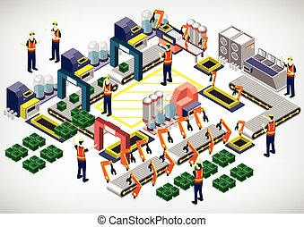 illustration of info graphic factory equipment concept in...