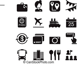 Tourism & Tourist icons set Vector illustration
